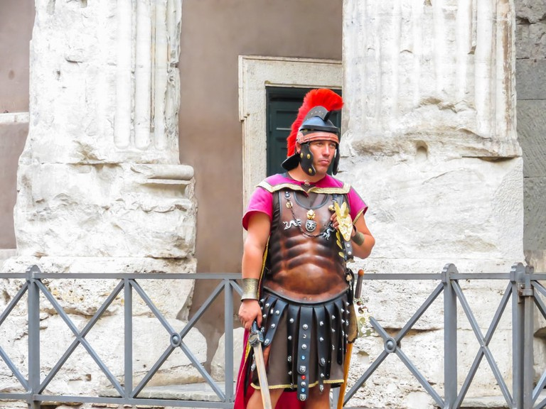 Street actor representing the Roman soldier