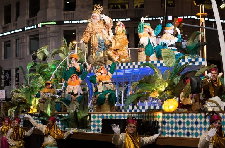 Festive cavalcade of Three Tsars-magicians on streets of Barcelona