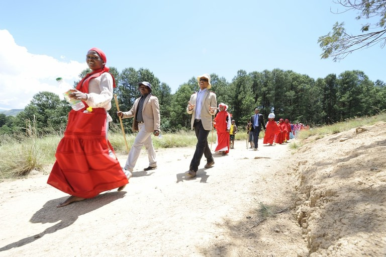 A Christmas day pilgrimage to Inthaba Kudela in the Drakensberg, kwazulu Natal, South Africa