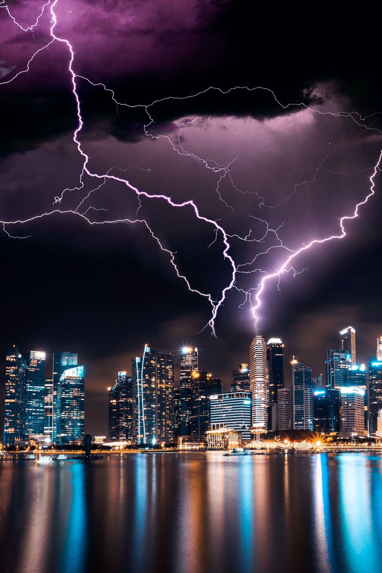 Lightning over Singapore's Central Business District