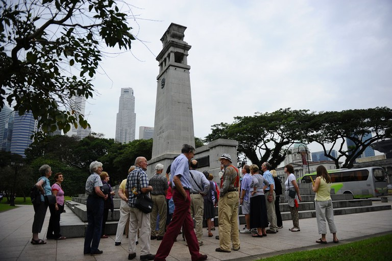 Tour group at Cenotaph, Singapore