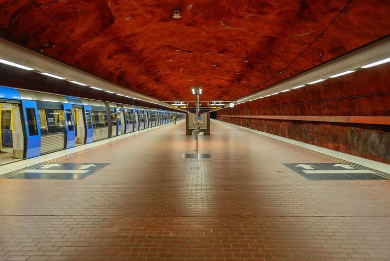 The incredible ceiling at Skarpnack metro station