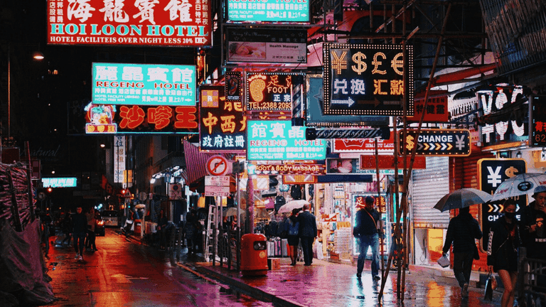 Calles de la ciudad de Hong Kong