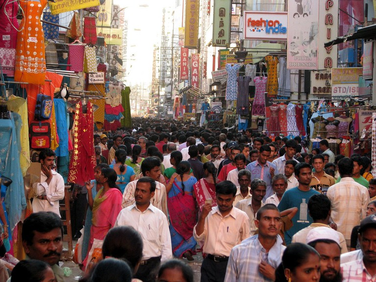 A busy day at the shopping district in T Nagar