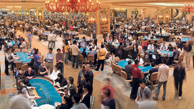 Crowded casino floor at Venetian Macao