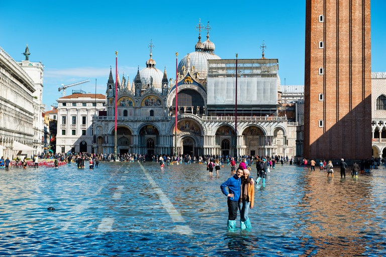 Acqua alta in St. Mark's Square, Venice in October 2015