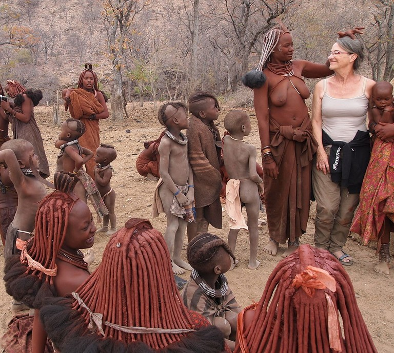 Visitor at Himba village
