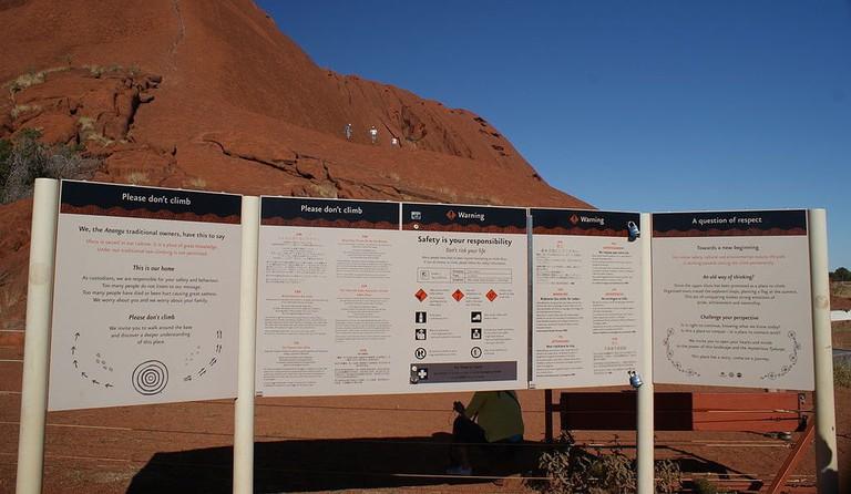Warning signs at Uluru