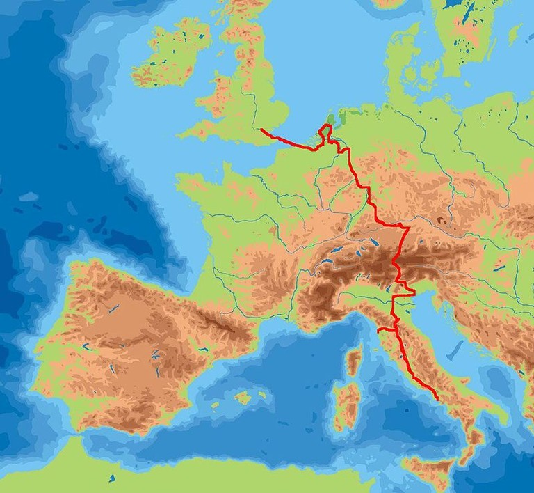 William Beckford's Grand Tour route across Europe