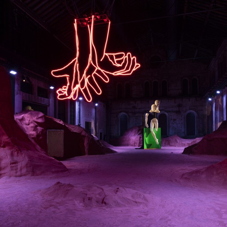 View of Patrick Tuttofuoco's Tutto infinito installation