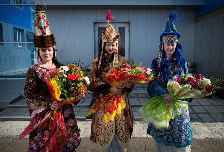 Women in ceremonial Kazakh dress
