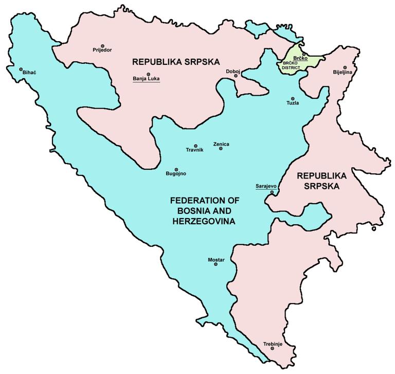 Map of BiH entities | © PANONIAN/WikiCommons