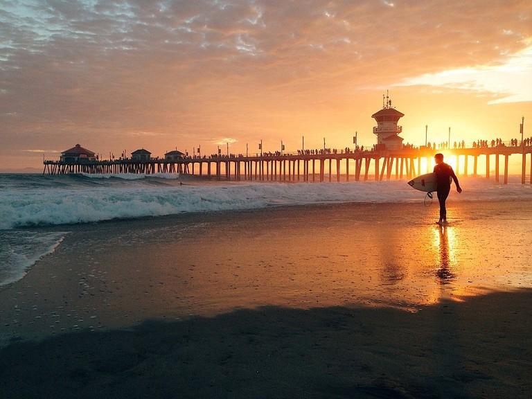 Surfer at Huntington Beach pier I