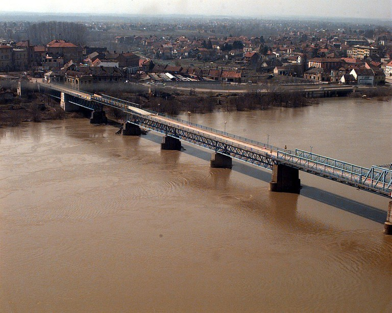 The Brcko Bridge under construction on April 07 1996 during Operation Joint Endeavor