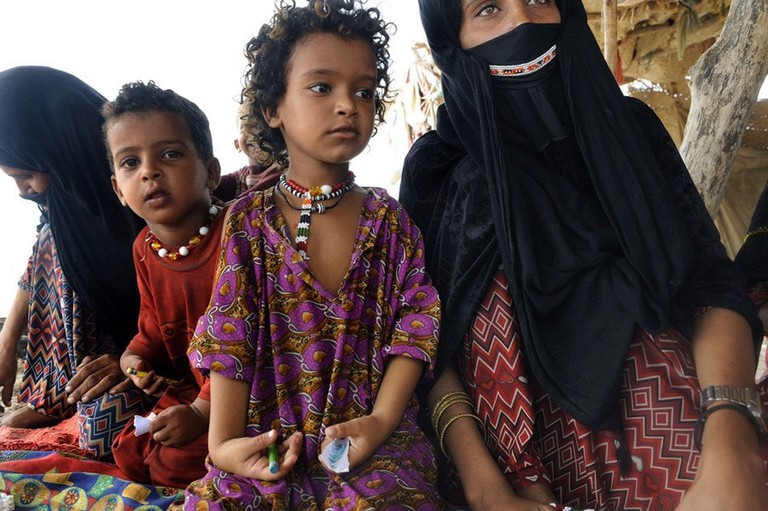 Bedouin women and children, many of whom still live in the desert of the UAE