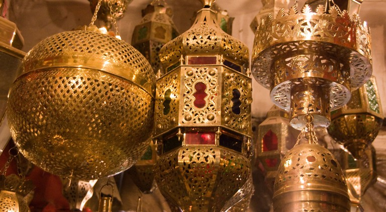 "<a href=""https://www.flickr.com/photos/thedadys/10874532455/"" rel=""noopener"" target=""_blank"">Metal lanterns in Morocco"