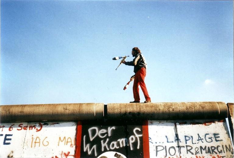 Juggling on the Berlin Wall on November 16, 1989