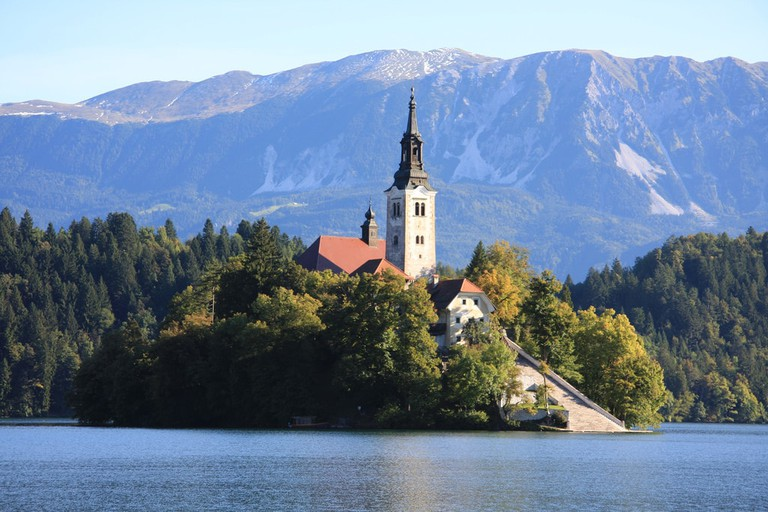 Church and the Staircase on the Lake Bled Island