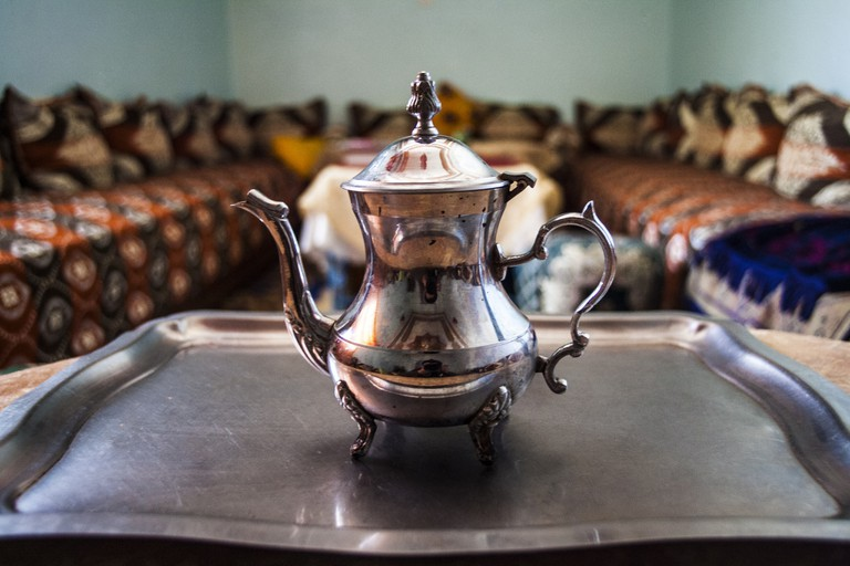 A pot of tea in a traditional Moroccan salon