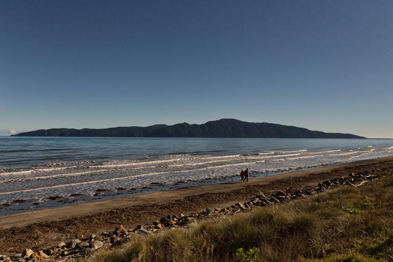 View of Kapiti Island from Raumati South on the Kapiti Coast