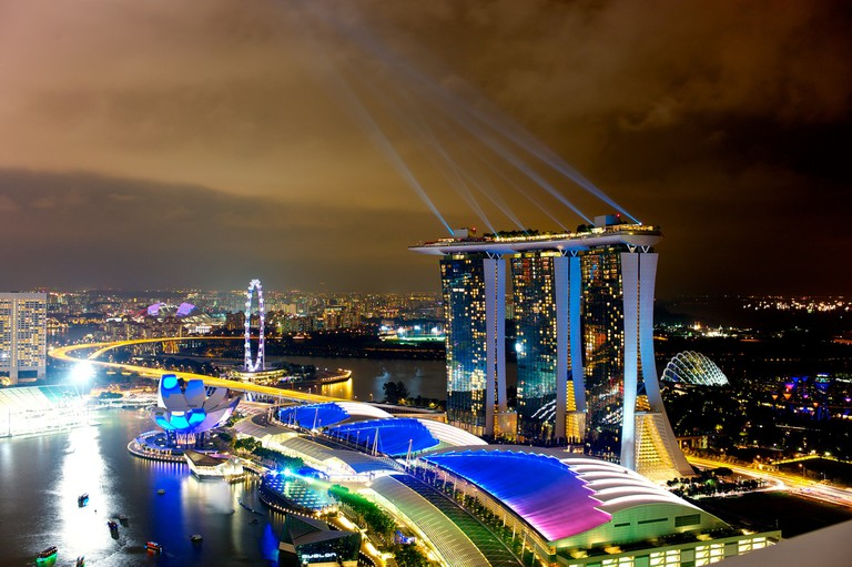 Electric hues of Marina Bay Sands