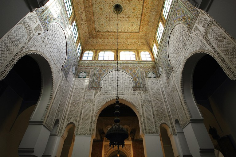Grand details inside the Moulay Ismail Mausoleum in Meknes