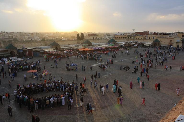 Meknes's El Hedim Square in the evening
