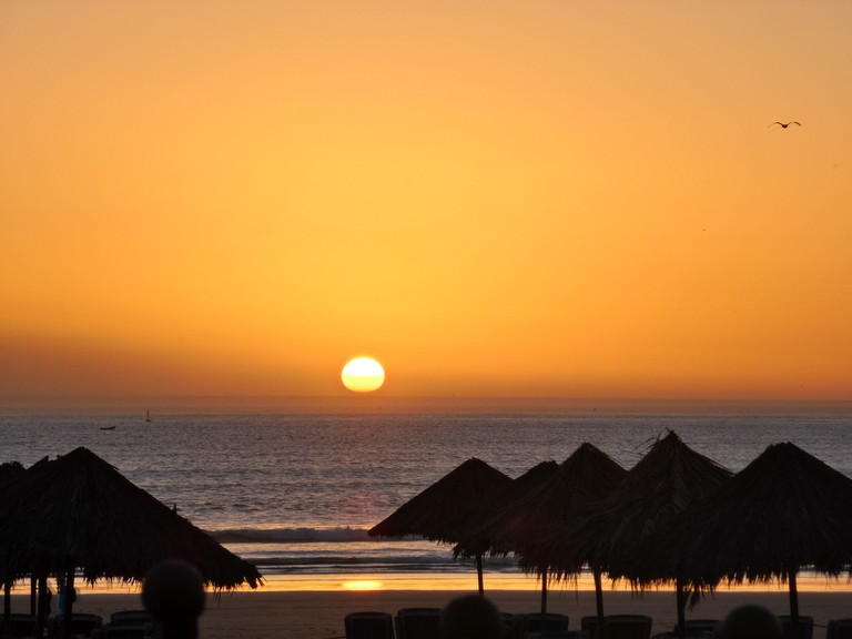 Sunset over the sea in Agadir
