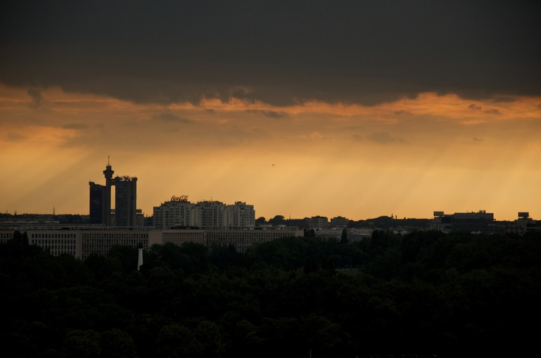 A dramatic stormy view of Novi Beograd
