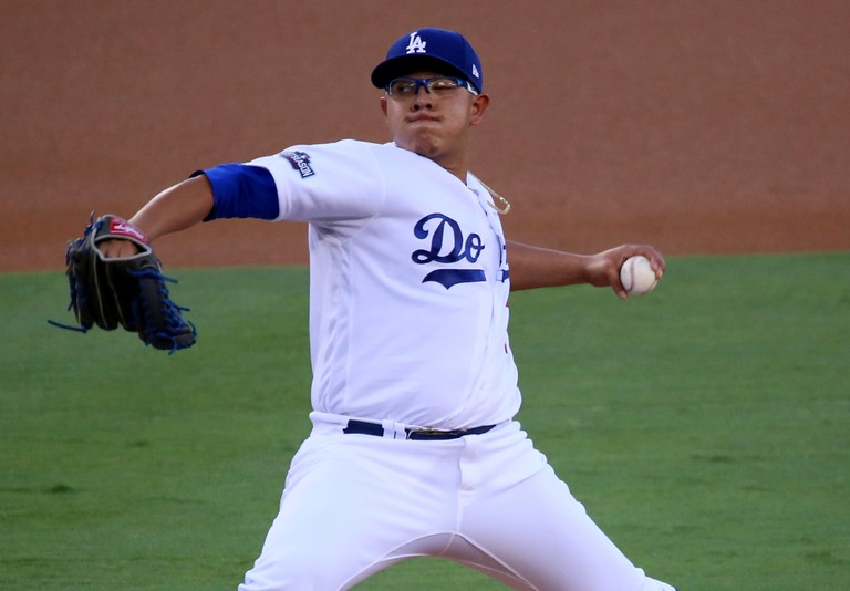 Dodgers rookie Julio Urias delivers a pitch in the first inning of NLCS Game 4.