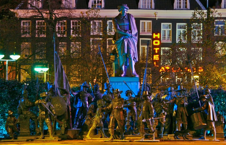 Rembrandtplein becomes very busy over Friday and Saturday nights
