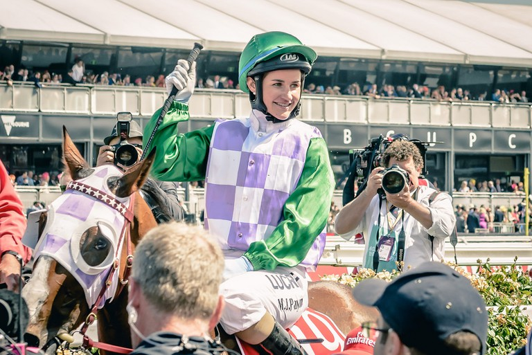 Michelle Payne with horse Prince of Penzance (2015 Melbourne Cup)
