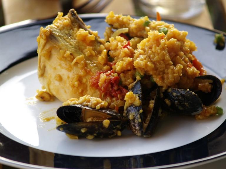A traditional paella