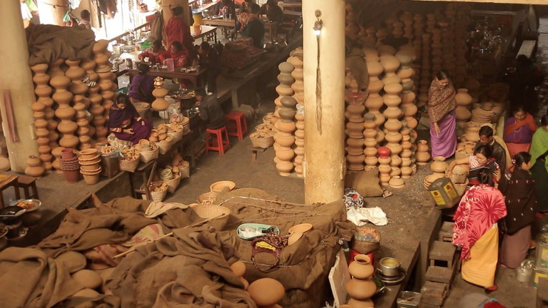 Potteries for sale at Mother's Market Shillong, Meghalaya