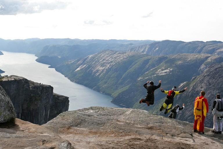 BASE jumpers on their way down from Mt Kjerag