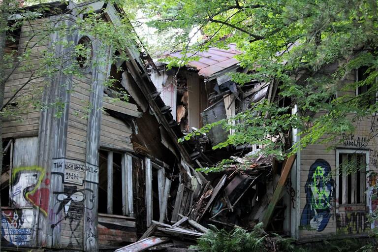 Abandoned house with graffiti