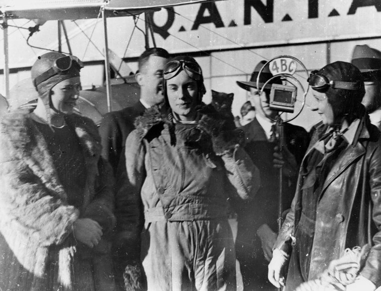 Jean Batten being interviewed after her flight from England to Australia in 1934