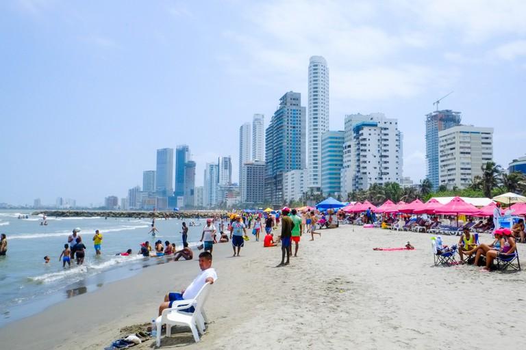 The urban beach of Bocagrande
