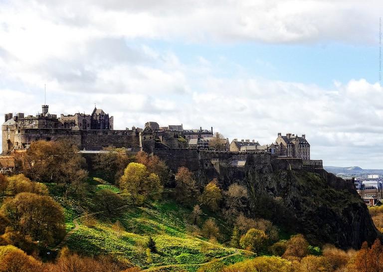 Edinburgh Castle from atop Walter Scott monument