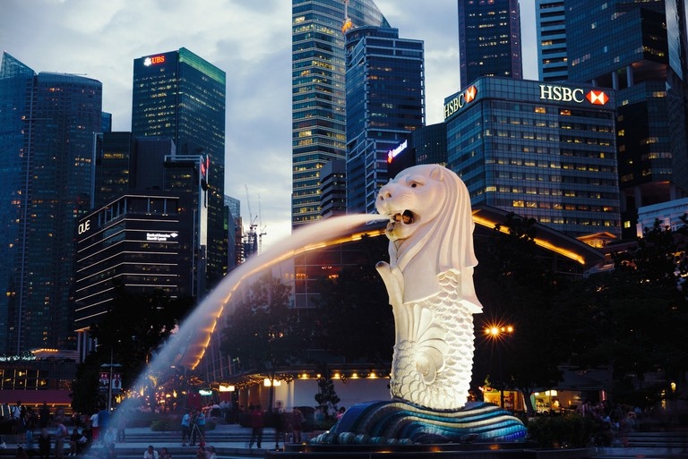 View of the Merlion from the Merlion Park