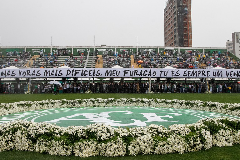 The funeral ceremony for the victims of the Chapecoense air disaster