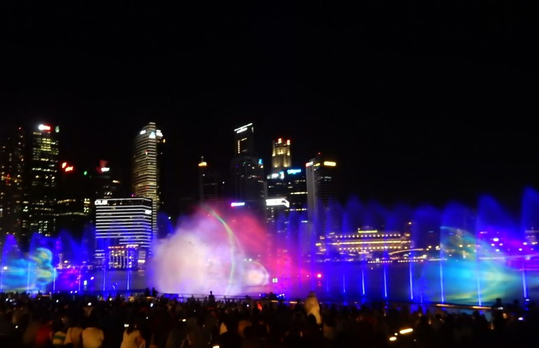Colourful mist show by the bay
