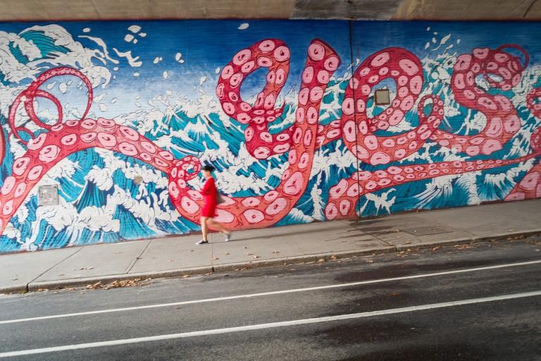 YES mural in Dumbo, Brooklyn
