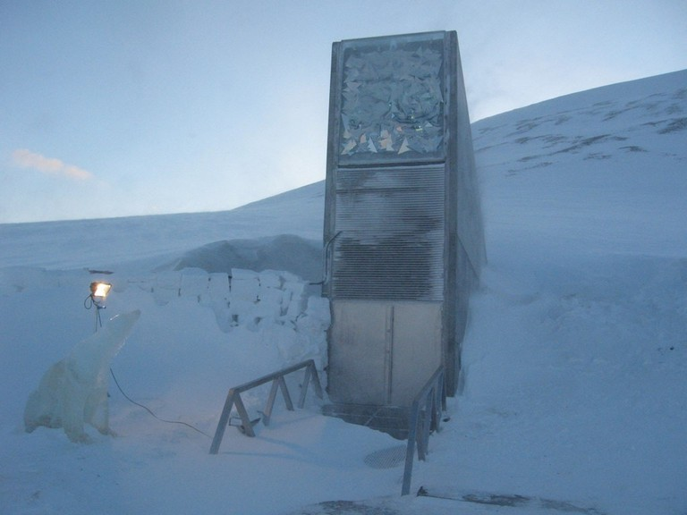 Svalbard Global Seed Vault, February 2008. Guarded by a frozen polar bear during the opening.