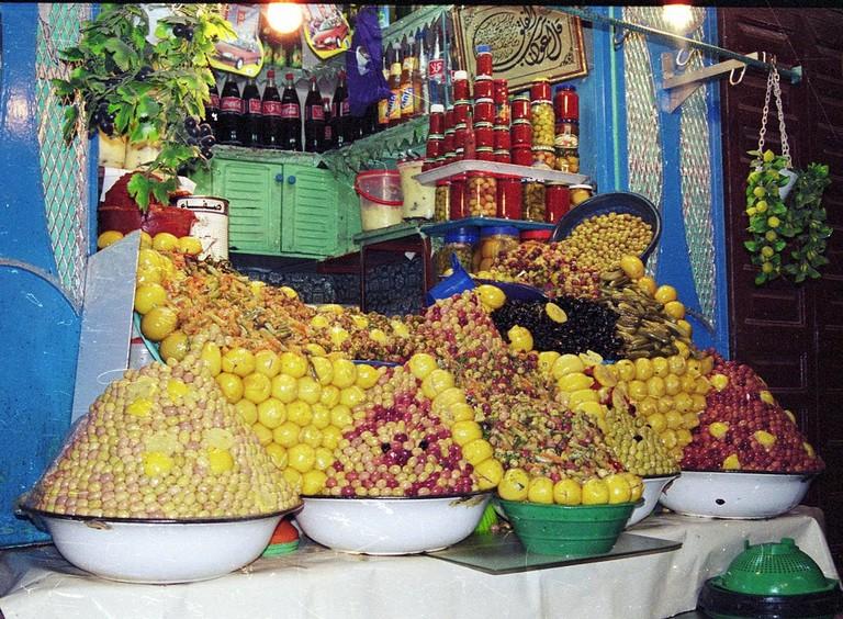 Olives for sale in Meknes' souks