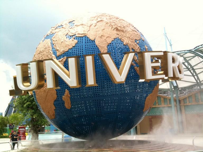 Iconic globe outside Universal Studios Singapore