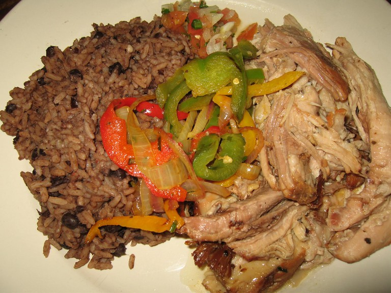 Pernil with rice and beans