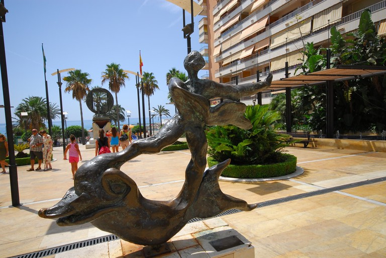 One of the sculptures by Salvador Dali near the seafront in Marbella