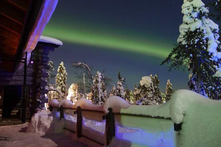 View of the northern lights from Ruka