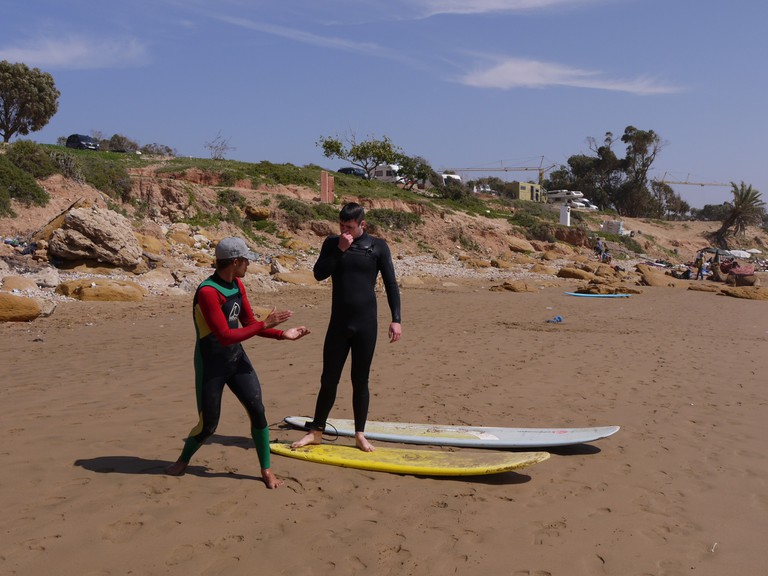 Surfing lesson, Morocco